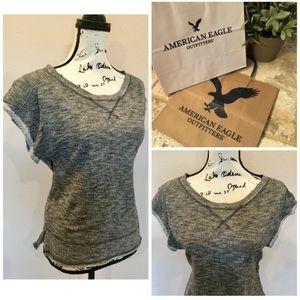 American Eagle Short Sleeve Sweatshirt Sparkle Top